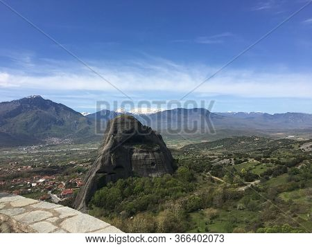 Beautiful View On Meteora In Trikala, Greece.
