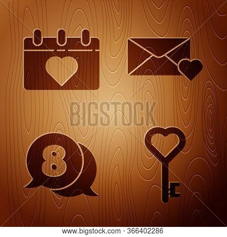 Set Key In Heart Shape, Calendar With 8 March, 8 March In Speech Bubble And Envelope With 8 March On
