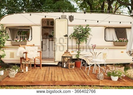 Decor Of House On Wheels. Family Vacation Travel Rv,holiday Trip In Motorhome.caravan Car Vacation.
