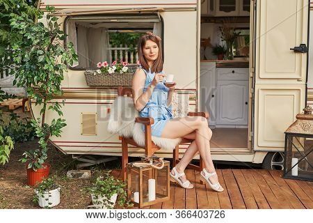 Girl Near House On Wheels On Picnic. Family Vacation Travel Rv,holiday Trip In Motorhome.caravan Car