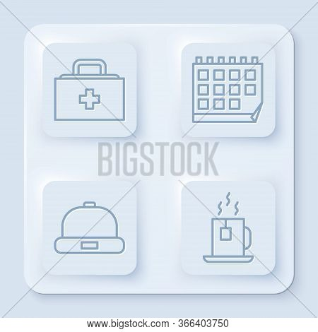 Set Line First Aid Kit, Calendar, Beanie Hat And Cup Of Tea With Tea Bag. White Square Button