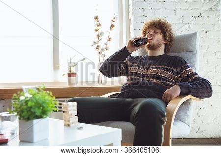 Portrait Of Millenial Boy With Retro Style, Meeting Things From Past And Having Fun. Generation Of D