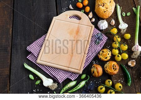 Food Cooking Background, Ingredients For Preparation Dishes, Vegetables, Yellow Tomatoes, Peper, Bre