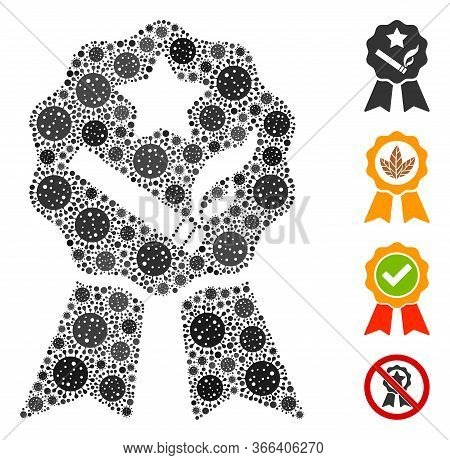 Collage Best Tobacco Organized From Coronavirus Icons In Variable Sizes And Color Hues. Vector Patho