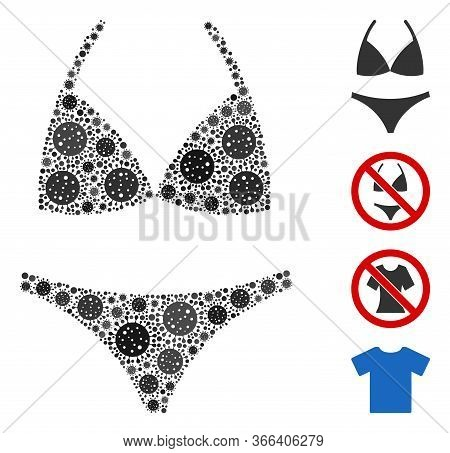 Mosaic Bikini Composed Of Sars Virus Icons In Variable Sizes And Color Hues. Vector Viral Icons Are