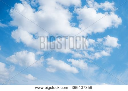 Beautiful Blue Sky With Clouds. Sky Background. Photo Of The Blue Sky. White Clouds.