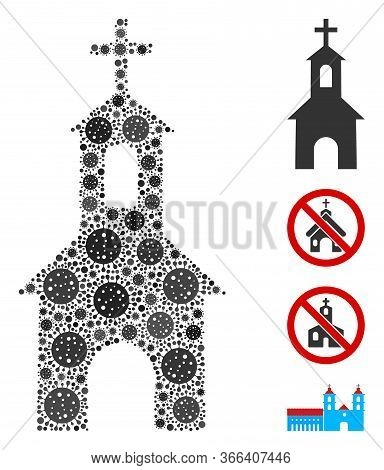 Collage Catholic Kirch Constructed From Sars Virus Icons In Various Sizes And Color Hues. Vector Vir