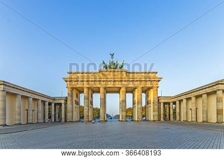 Brandenburg Gate (brandenburger Tor) In Berlin Early Morning Without Tourists
