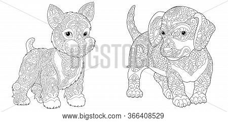 Coloring Pages. Cute Yorkshire Terrier And Dachshund. Line Art Design For Adult Colouring Book With