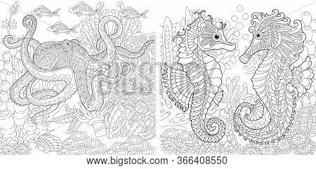 Coloring Pages. Underwater Landscapes With Octopus And Seahorses. Line Art Design For Adult Colourin