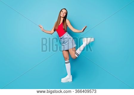 Full Length Photo Of Lovely Girlish Lady Enjoy Spring Free Time Weekend Holiday Raise Hands Legs Wea