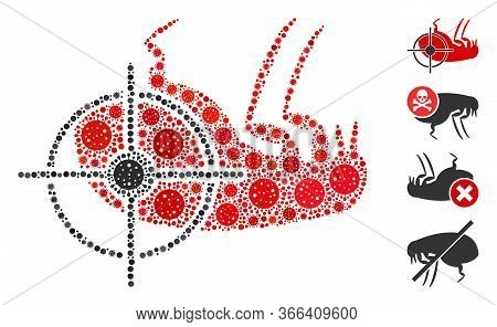 Collage Dead Flea Organized From Coronavirus Icons In Different Sizes And Color Hues. Vector Viral I