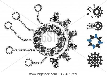 Mosaic Digital Mechanics Constructed From Covid-2019 Virus Icons In Various Sizes And Color Hues. Ve