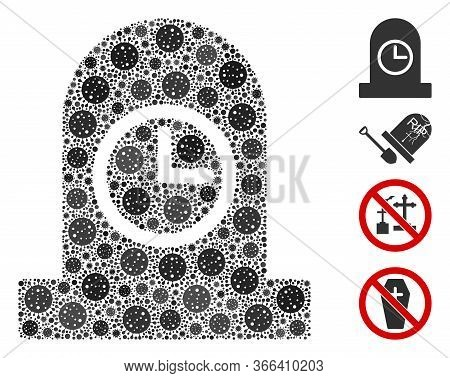 Mosaic Expired Grave Composed Of Flu Virus Elements In Various Sizes And Color Hues. Vector Viral Ic