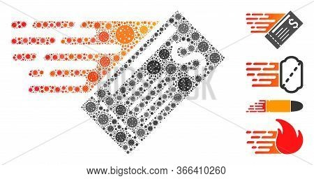 Mosaic Express Cheque Designed From Covid-2019 Virus Icons In Variable Sizes And Color Hues. Vector