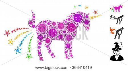 Mosaic Farting Unicorn United From Covid-2019 Virus Icons In Random Sizes And Color Hues. Vector Inf