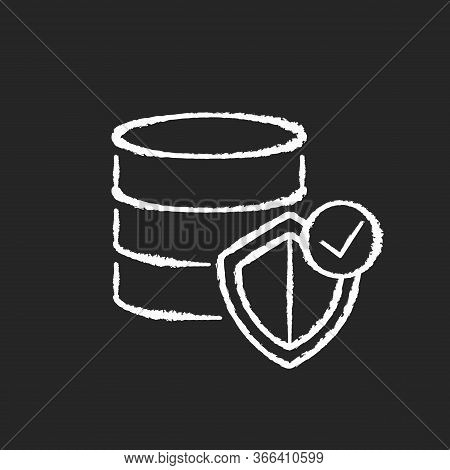 Datacenter Security Chalk White Icon On Black Background. Digital Encryption. Big Data Protection. W