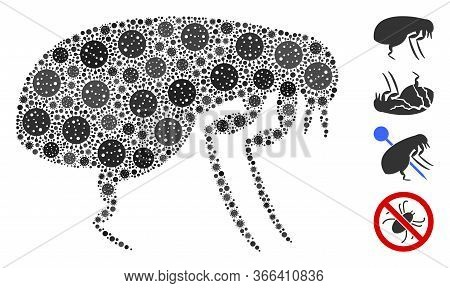 Mosaic Flea Composed Of Coronavirus Icons In Different Sizes And Color Hues. Vector Infection Parts