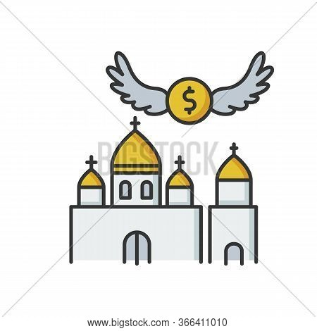 Church Donation Rgb Color Icon. Charity For Religious Community. Contribution To Christian Congregat