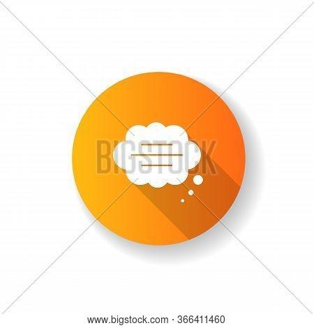 Thought Bubble Orange Flat Design Long Shadow Glyph Icon. Empty Comic Speech Cloud. Blank Dialogue B