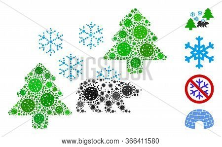 Mosaic Frost Siberia Composed Of Covid-2019 Virus Icons In Variable Sizes And Color Hues. Vector Pat