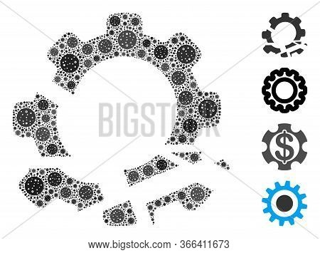 Collage Gear Destruction Designed From Flu Virus Icons In Various Sizes And Color Hues. Vector Infec