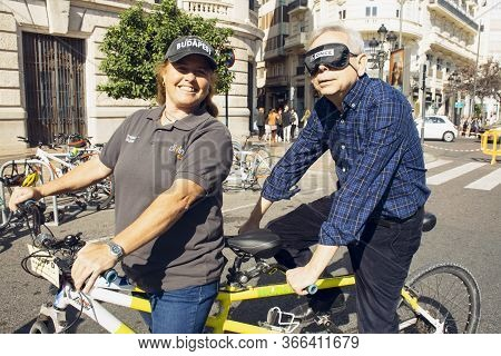 Valencia, Spain. February 15, 2020 - Adaptive Sports Day. A Man Feeling The Sensations Of A Blind Ma