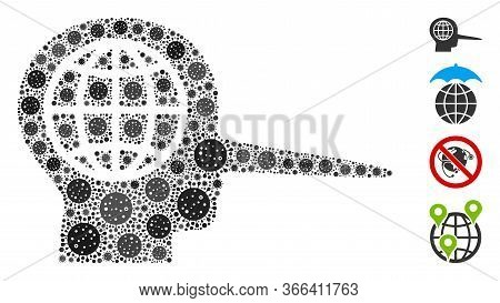 Mosaic Global Liar Designed From Flu Virus Icons In Different Sizes And Color Hues. Vector Pathogen