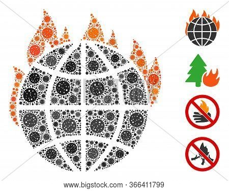 Mosaic Global Warming Fire Composed Of Covid-2019 Virus Icons In Variable Sizes And Color Hues. Vect