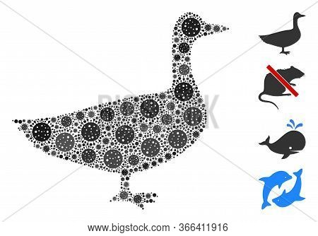 Mosaic Goose Constructed From Flu Virus Items In Various Sizes And Color Hues. Vector Pathogen Items