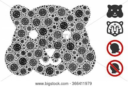 Collage Hamster Head Constructed From Coronavirus Items In Random Sizes And Color Hues. Vector Patho
