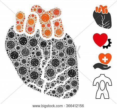 Mosaic Heart Cancer Composed Of Covid-2019 Virus Icons In Various Sizes And Color Hues. Vector Infec