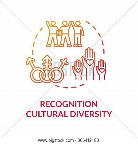 Cultural Diversity Recognition Red Concept Icon. Multi Racial Group. Gender Equality In Society. Mul