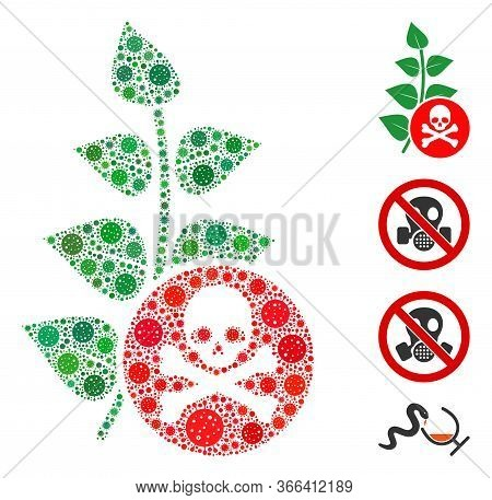 Mosaic Herbicide Toxin Organized From Sars Virus Icons In Various Sizes And Color Hues. Vector Patho