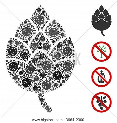 Collage Hop Bud Constructed From Coronavirus Icons In Various Sizes And Color Hues. Vector Infection