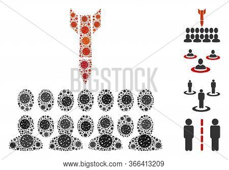 Mosaic Kill All The People Composed Of Coronavirus Icons In Various Sizes And Color Hues. Vector Pat