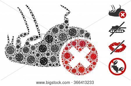 Collage Kill Flea Designed From Sars Virus Items In Various Sizes And Color Hues. Vector Viral Items