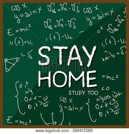 Stay In Home Poster. Board With Notes - Vector