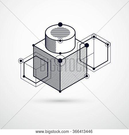 Geometric Technology Vector Black And White Drawing, 3d Technical Wallpaper. Illustration Of Enginee