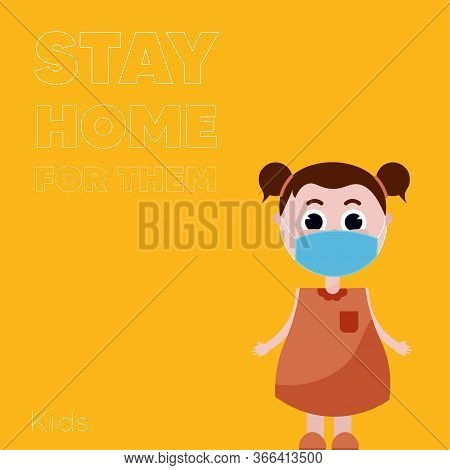 Stay In Home Poster. Girl Cartoon - Vector