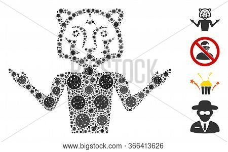 Mosaic Masquerade Organized From Flu Virus Elements In Different Sizes And Color Hues. Vector Viral