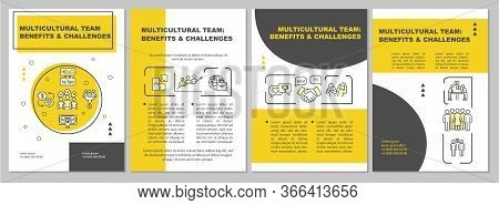 Multiracial Team Brochure Template. Benefit And Challenge. Flyer, Booklet, Leaflet Print, Cover Desi