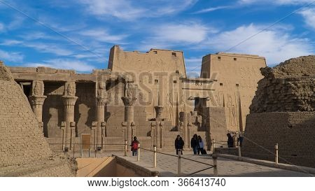 Edfu , Egypt - January 2020: Edfu Is The Site Of The Ptolemaic Temple Of Horus And An Ancient Settle
