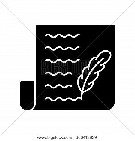 Blog Black Glyph Icon. Writing Personal Diary. Feather Pen Symbol On Sheet Of Paper. Quill On Page.