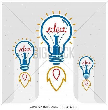 Three Idea Light Bulbs Launching Like A Rockets Vector Linear Logo Or Poster, Creative Idea Startup,