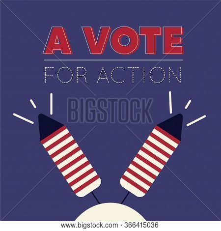 United States Elections Poster With Fireworks - Vector