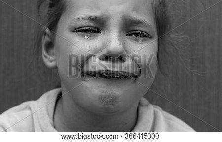 Black And White Portrait Sad Girl Child Crying