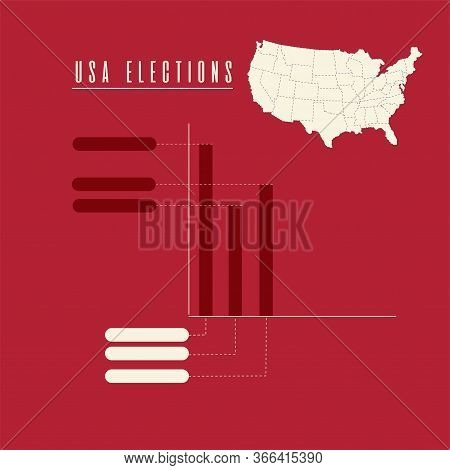 United States Elections Poster. Map And Statistics Graphs - Vector
