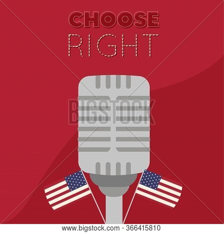 United States Elections Poster. Antique Microphpne And Flags - Vector