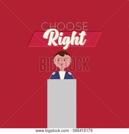 Candidate In Debate. Elections Day - Vector Illustration